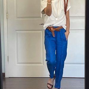 J Crew Royal Blue Seaside Linen Pants size 00P